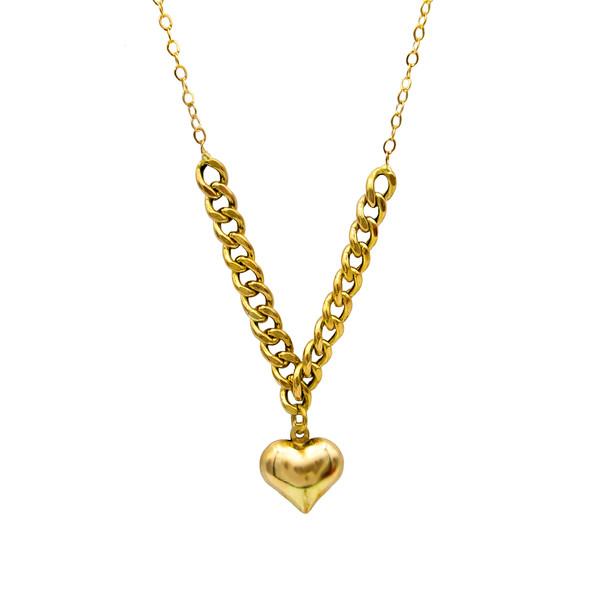 گردنبند طلا 18 عیار زنانه کاپانی مدل قلب کد KN007