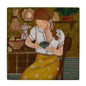 کاشی طرح دختری با فنجان چای کد wk869