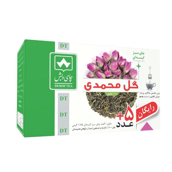چای سبز کیسه ای گل محمدی چای دبش بسته 25 عددی