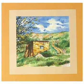نقاشی آبرنگ طرح کلبه در مزرعه