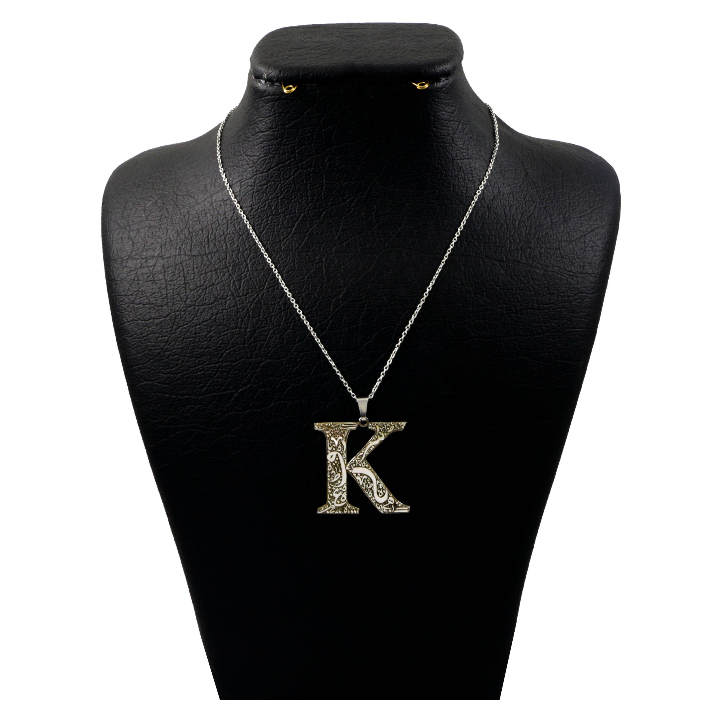گردنبند نقره زنانه دلی جم طرح  حرف K قلم زنی کد D 231