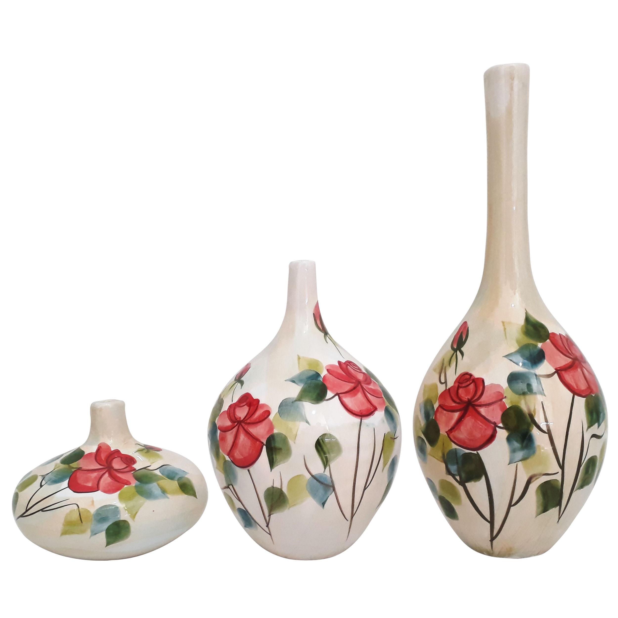 گلدان مدل سالنگ طرح گل سرخ کد SG3 مجموعه 3 عددی