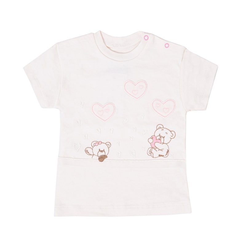 ست تی شرت و شلوار نوزادی دخترانه پولونیکس طرح قلب و خرس کد 41