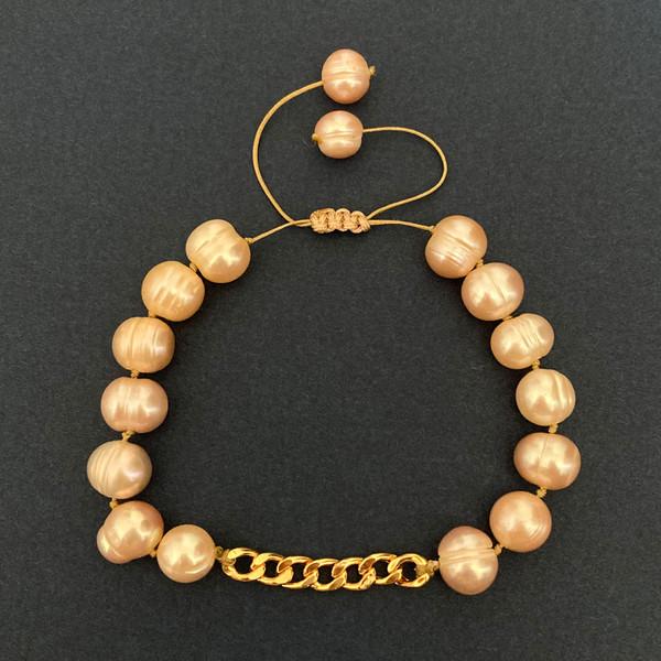 دستبند طلا 18 عیار زنانه الماسین آذر طرح زنجیر مدل CART02