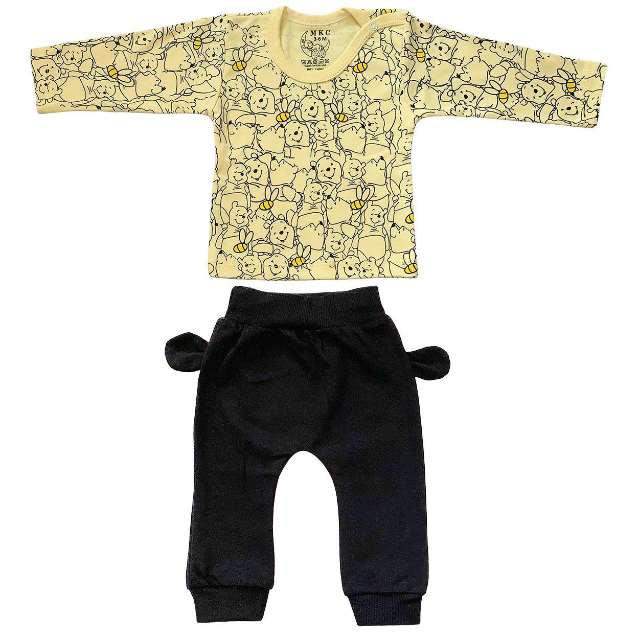 ست تی شرت و شلوار نوزادی طرح پو کد FF-084  -  - 3