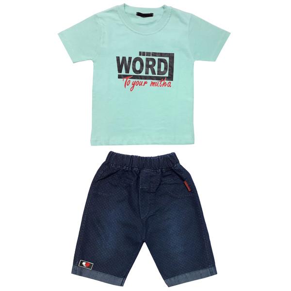 ست تی شرت و شلوارک پسرانه طرح word کد 101