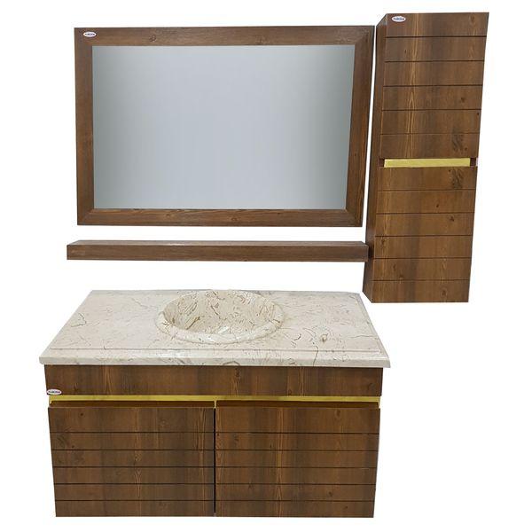 ست کابینت و روشویی البرز کد A110 بهمراه آینه و باکس