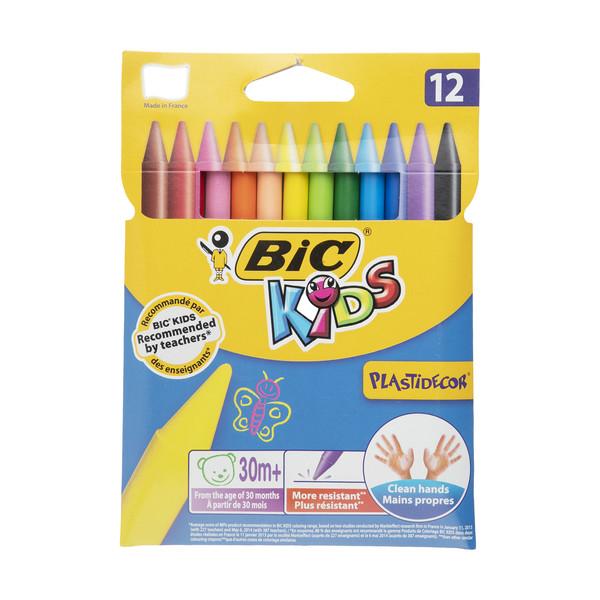مداد شمعی 12 رنگ بیک مدل PlastiDecor