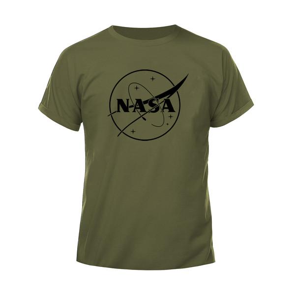 تیشرت آستین کوتاه مردانه مدل ناسا کد H17 رنگ سبز زیتونی