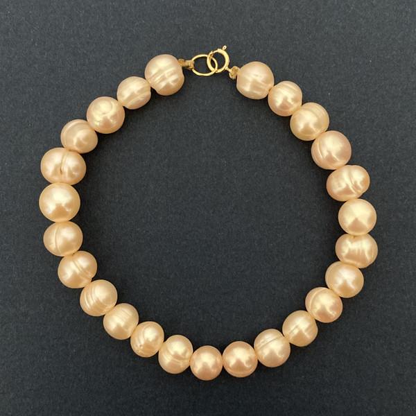 دستبند طلا 18 عیار زنانه الماسین آذر طرح مروارید کد GHOFL01