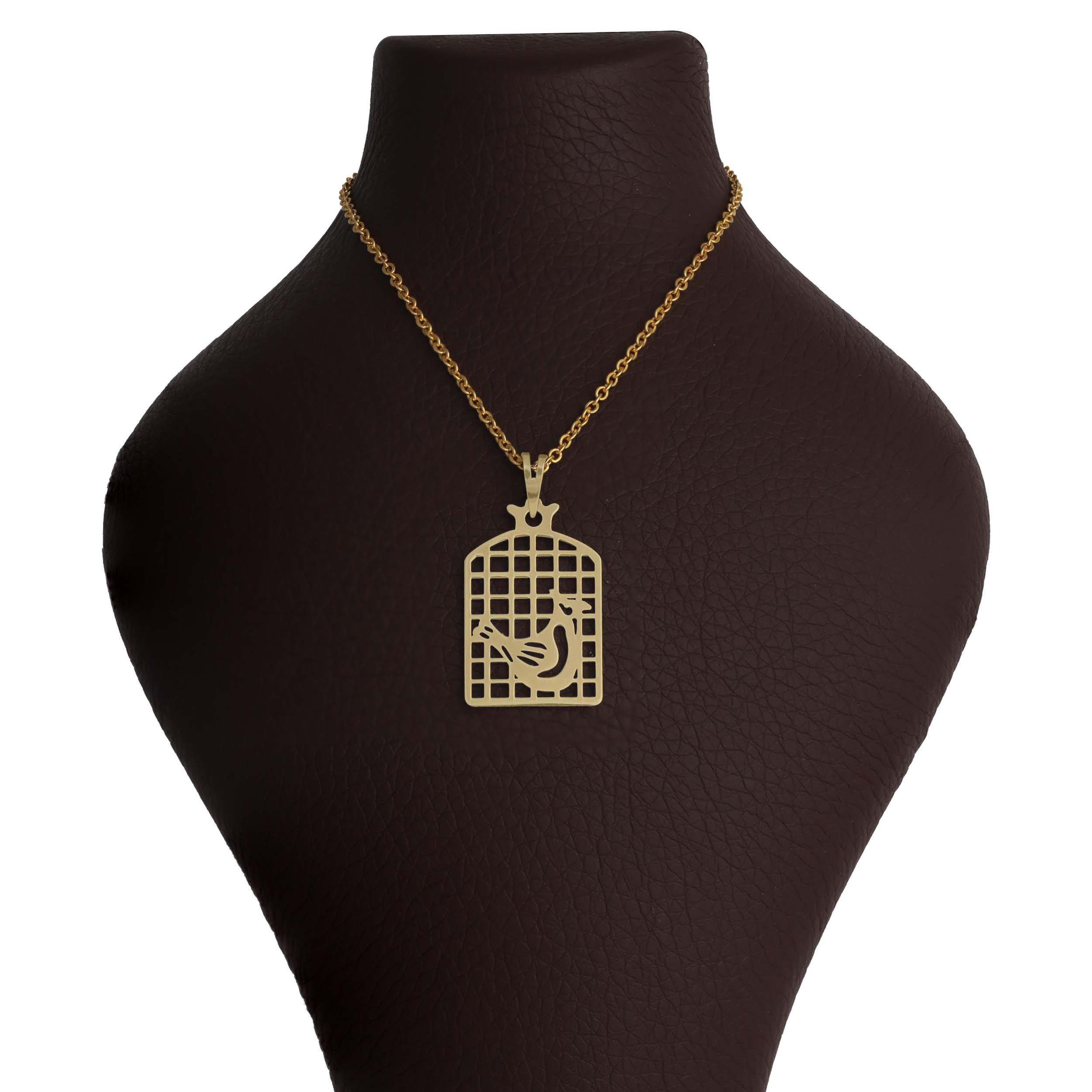 گردنبند طلا 18 عیار زنانه آمانژ طرح مرغ آمین کد 1100D9024