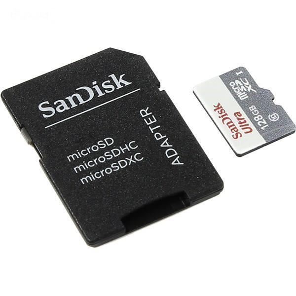 کارت حافظه microSDXC سن دیسک مدل Ultra کلاس 10 استاندارد UHS-I U1 سرعت 100MBps ظرفیت 128 گیگابایت همراه با آداپتور SD