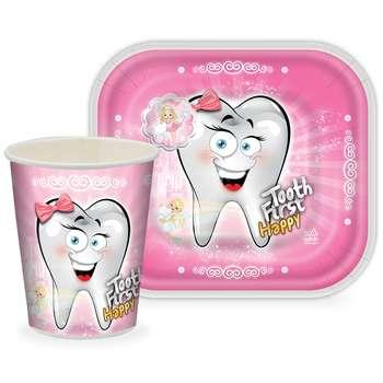 بشقاب و لیوان یکبار مصرف طرح دندان دختر مجموعه 24 عددی
