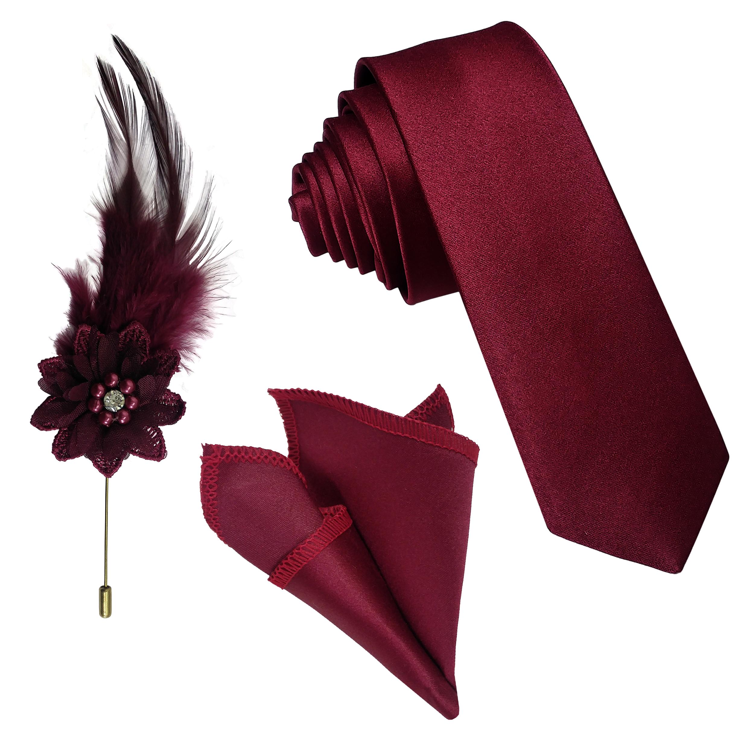 ست کراوات و دستمال جیب و گل کت مردانه مدل Z3