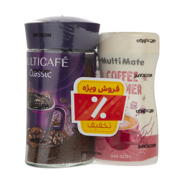 پودر قهوه کلاسیک مولتی کافه - 100 گرم و کافی کریمر مولتی کافه - 200 گرم