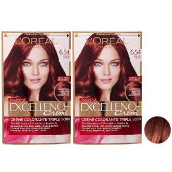 کیت رنگ مو لورآل مدل Excellence شماره 6.54 حجم 48 میلی لیتر رنگ ماهاگونی مسیمجموعه 2 عددی