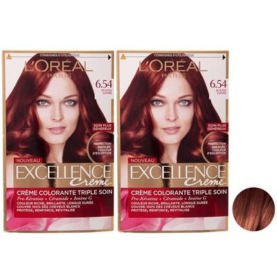 تصویر کیت رنگ مو لورآل مدل Excellence شماره 6.54 حجم 48 میلی لیتر رنگ ماهاگونی مسیمجموعه 2 عددی