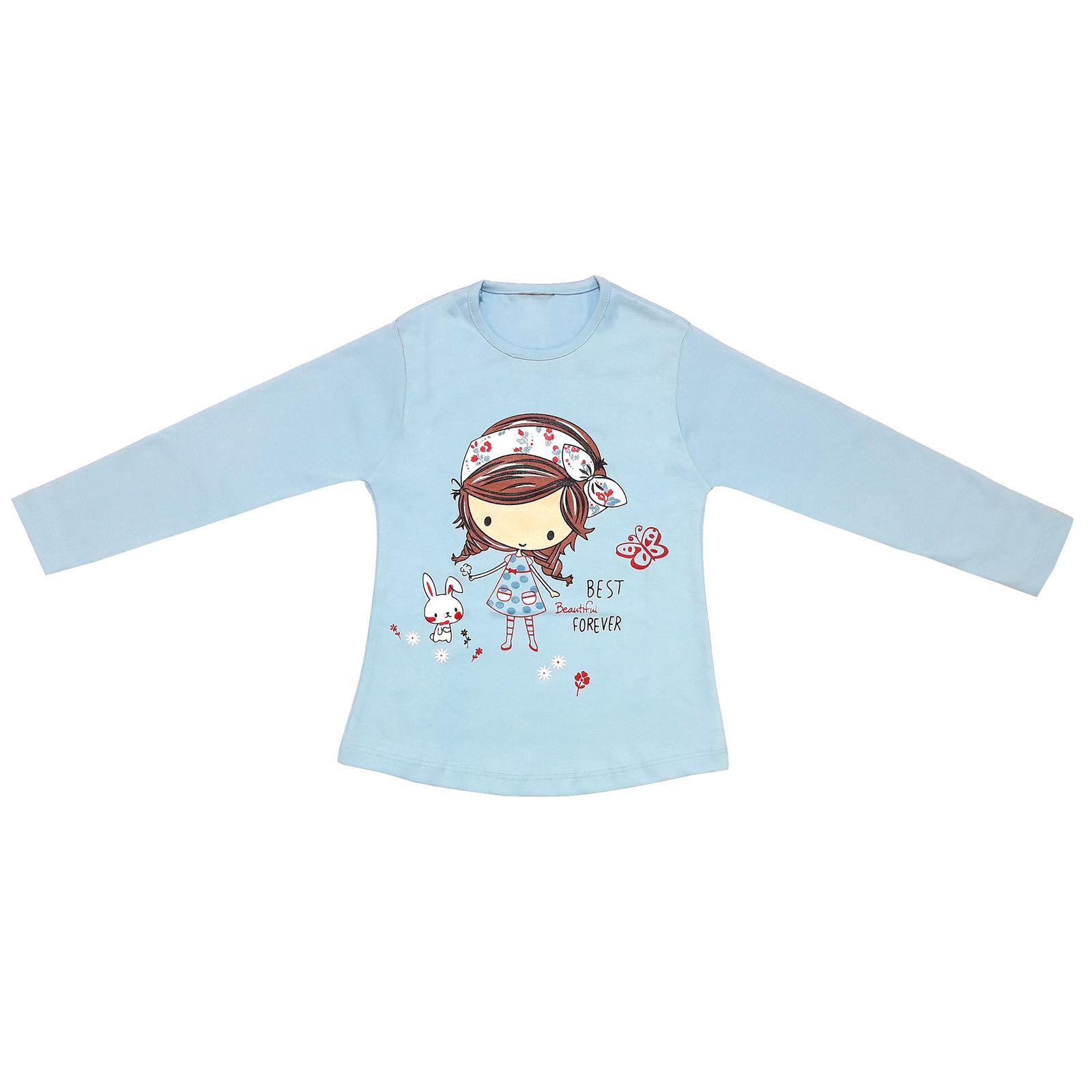 ست تی شرت و شلوار دخترانه طرح دختر و خرگوش کد 3073 رنگ آبی -  - 4
