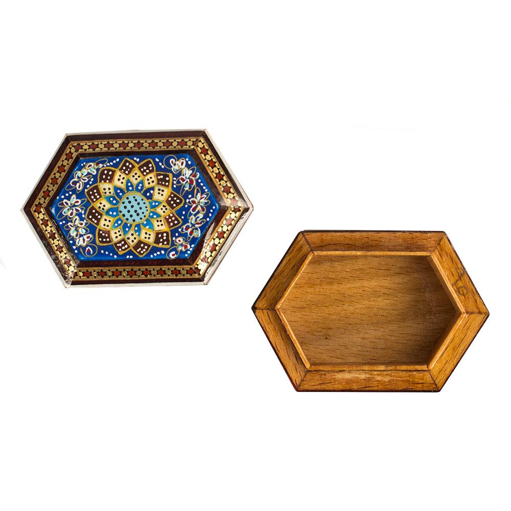خرید                      جعبه سکه خاتم کاری طرح شمسه تذهیب کد 6-2