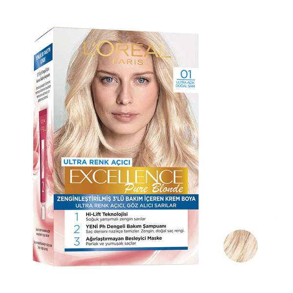 کیت رنگ مو لورآل مدل Excellence شماره 01 رنگ بلوند