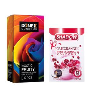 کاندوم بونکس مدل Exotic Fruity بسته 12 عددی به همراه کاندوم شادو مدل Pomegranate بسته 12 عددی