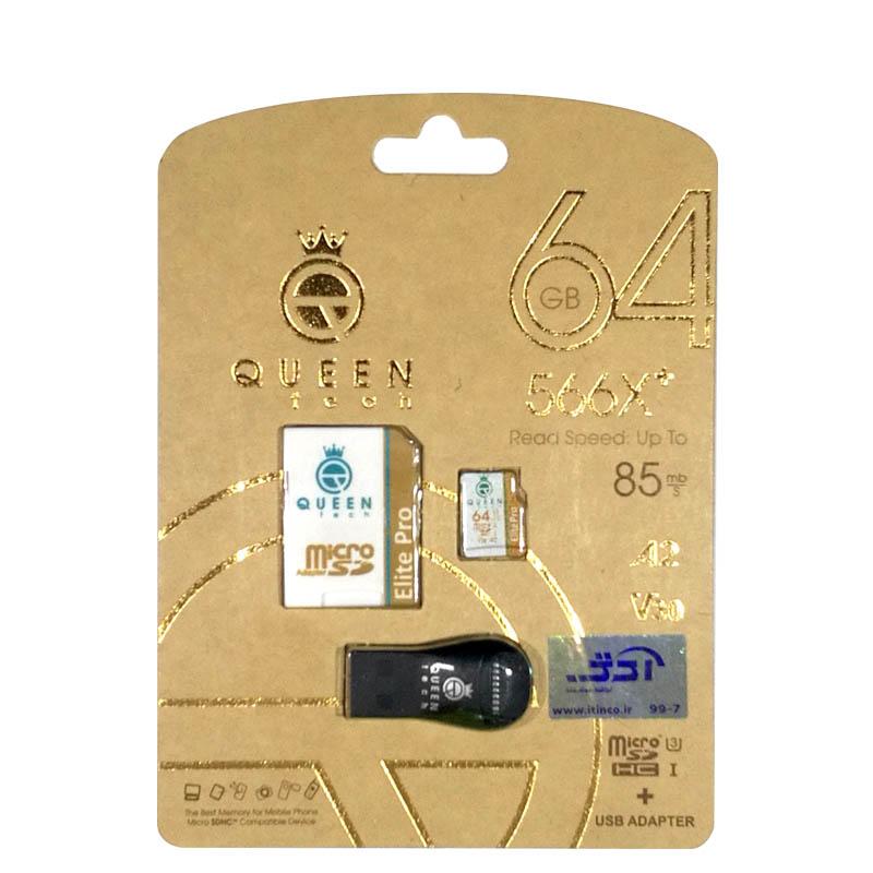 کارت حافظه microSDXC کوئین تک مدل +Elite pro 566X کلاس 10 استاندارد UHS-I U3 سرعت 85MBps ظرفیت 64 گیگابایت به همراه آداپتور SD و کارت خوان