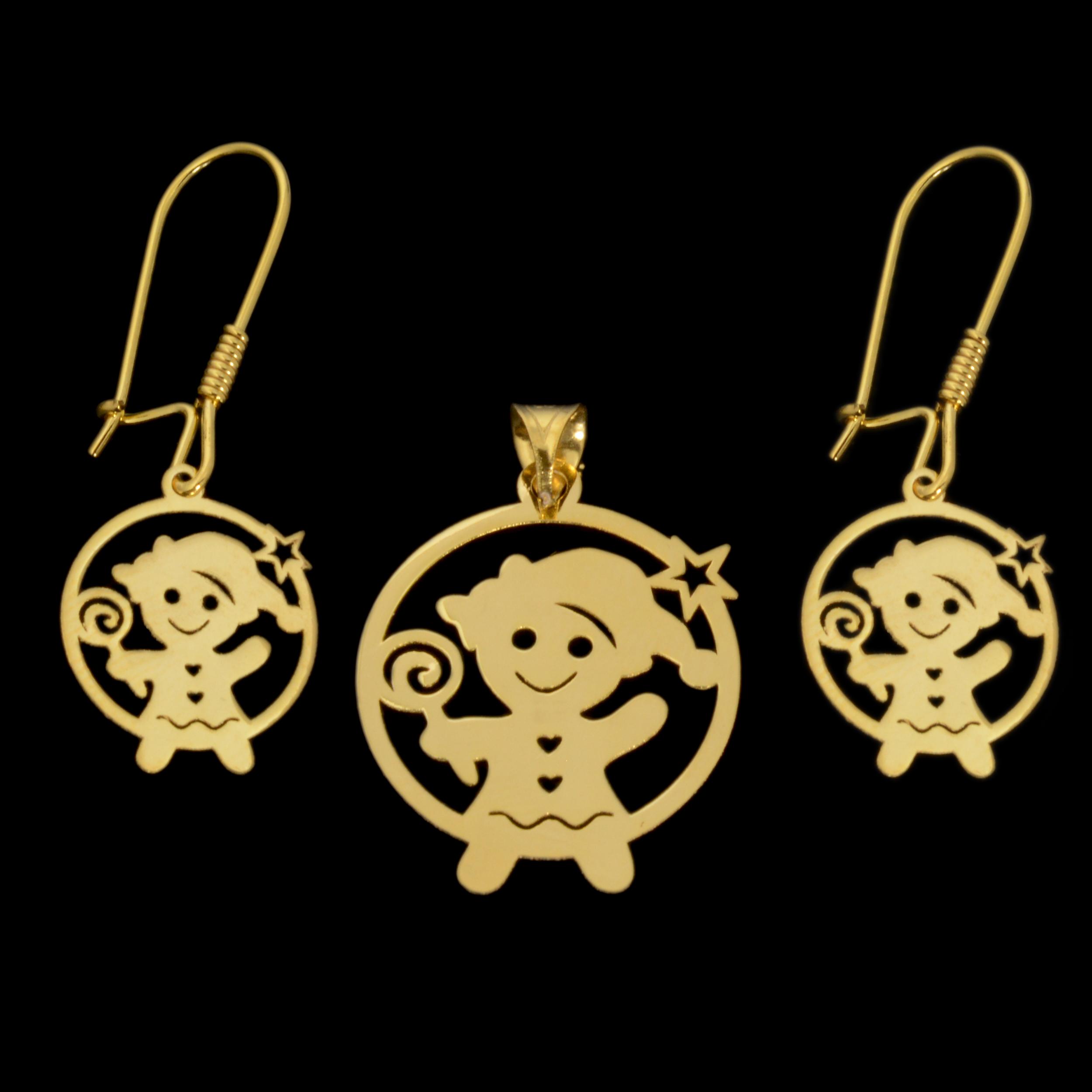 نیم ست طلا 18 عیار دخترانه طلای مستجابی مدل عروسکی کد 67117