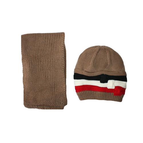 ست کلاه و شال گردن بافتنی کد 584 رنگ قهوه ای