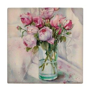 کاشی طرح گلدان و گل های رز کد wk638