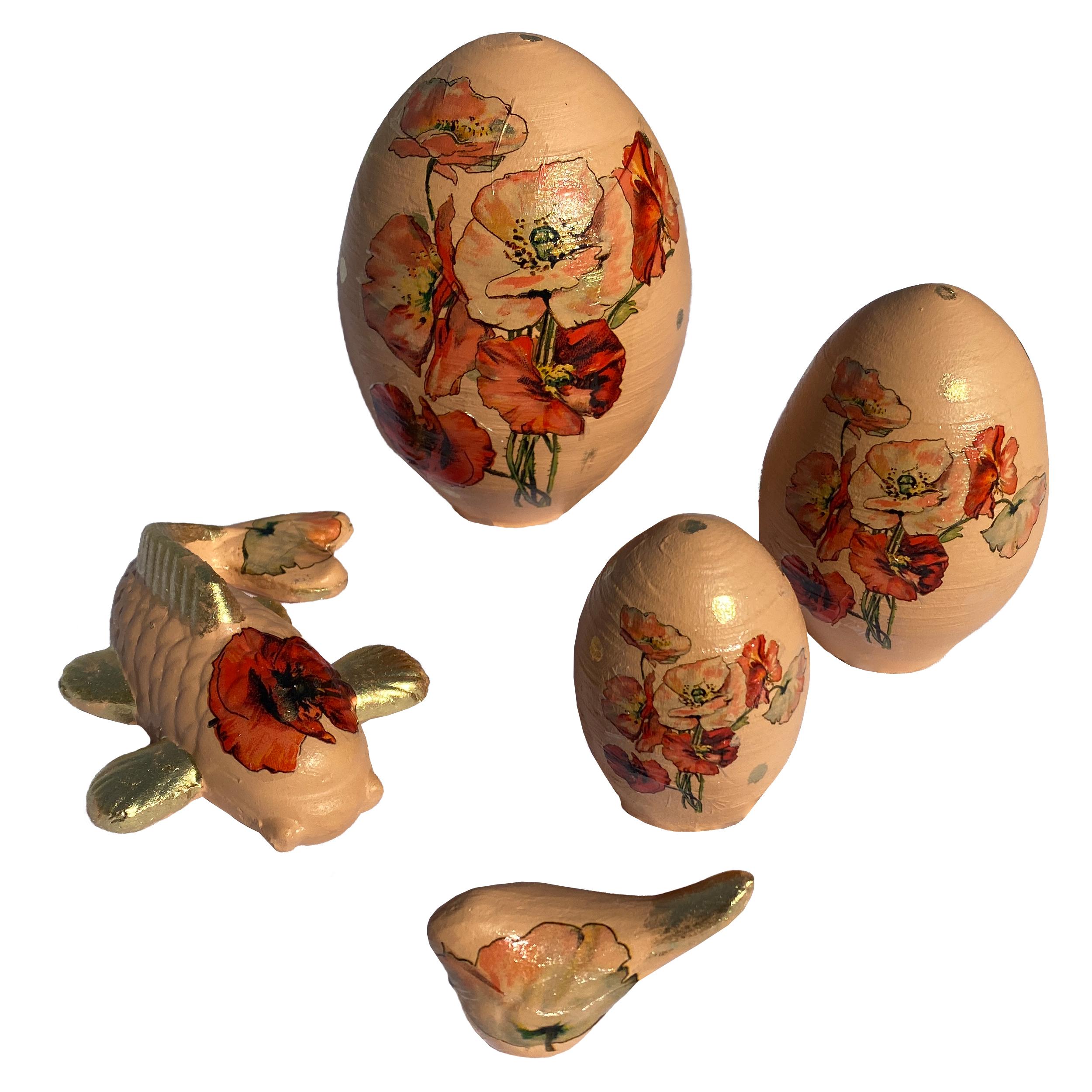 تخم مرغ سفالی مدل شقایق مجموعه 3 عددی به همراه مجسمه