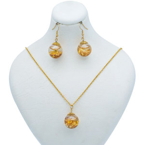 نیم ست طلا 24 عیار زنانه طرح گوی کد 100175