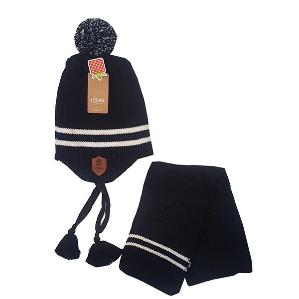 ست کلاه و شال گردن بافتنی بچگانه مدل icilek