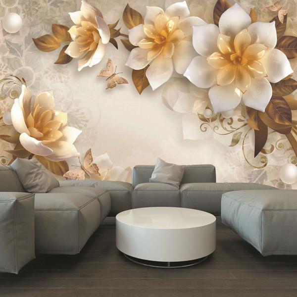 پوستر دیواری دیاکو مدل گل طلایی سفید30099