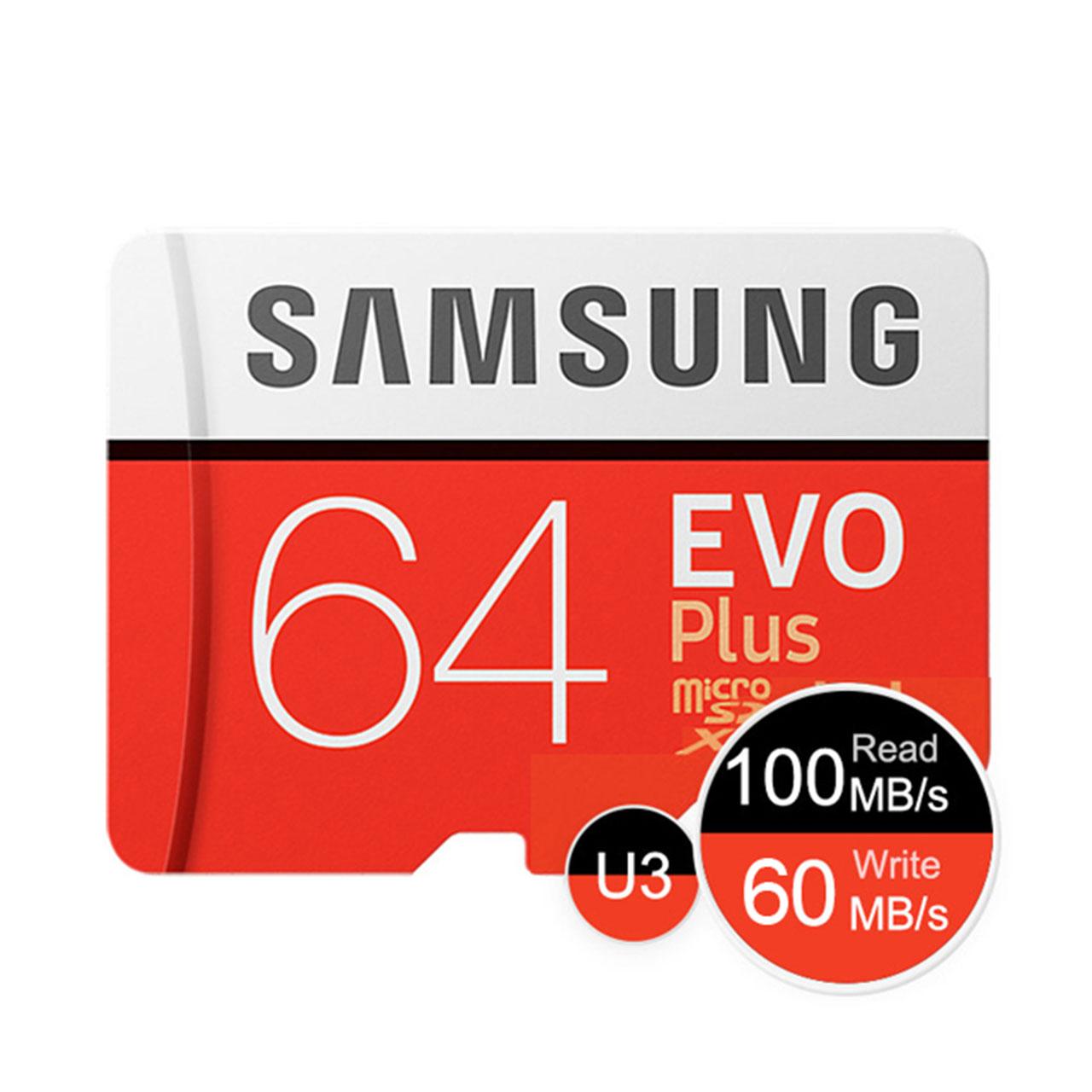 کارت حافظه microSDXC مدل Evo Plus کلاس 10 استاندارد UHS-I U3 سرعت 100MBps ظرفیت 64گیگابایت به همراه آداپتور SD                     غیر اصل