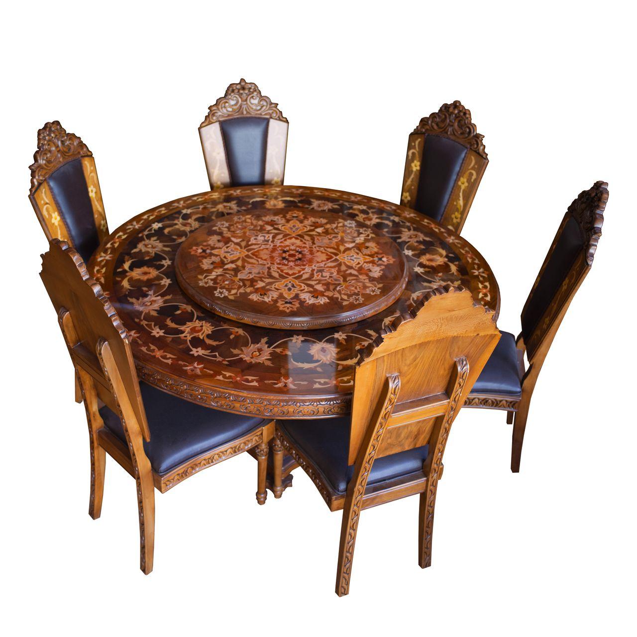 میز و صندلی ناهارخوری 6 نفره مدل گردون
