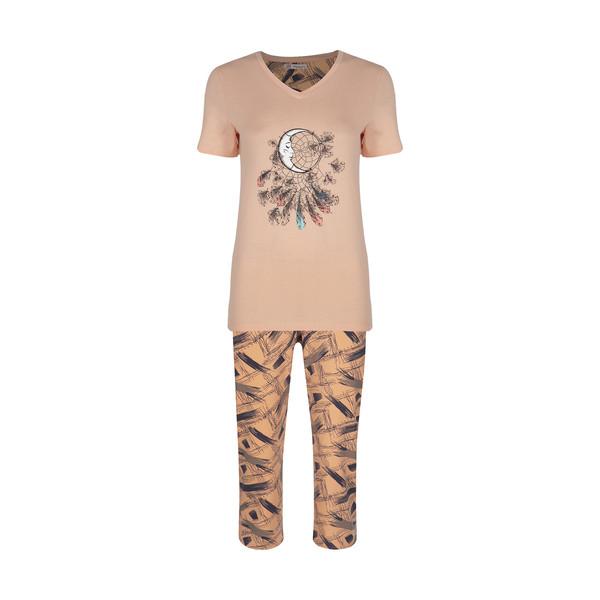 ست تی شرت و شلوارک راحتی زنانه جامه پوش آرا مدل 4032029025-80