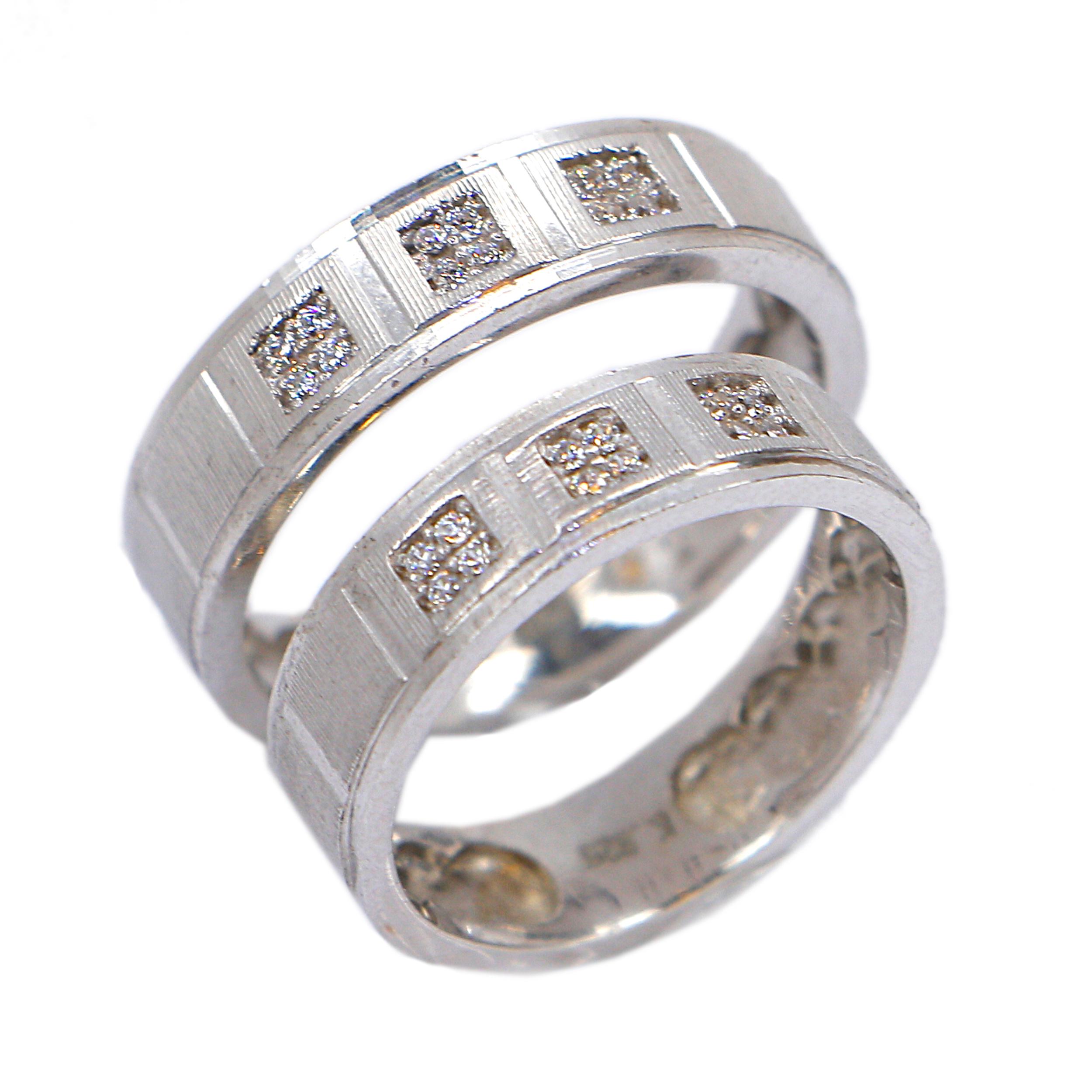ست انگشتر نقره زنانه و مردانه مدل نگین دار کد RS001