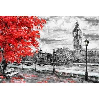 تابلو شاسی طرح نقاشی خیابان لندن و برج ساعت بیگ بن مدل T1006