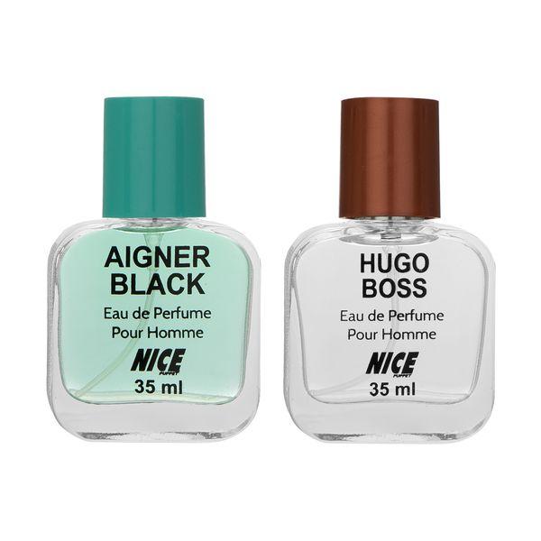 عطر جیبی مردانه نایس پاپت مدل Hugo Boss حجم 35 میلی لیتر به همراه عطر جیبی مردانه نایس پاپت مدل Aigner Black حجم 35 میلی لیتر