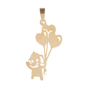آویز گردنبند طلا 18 عیار زنانه باراد زر طرح فیل و بادکنک کد BR34