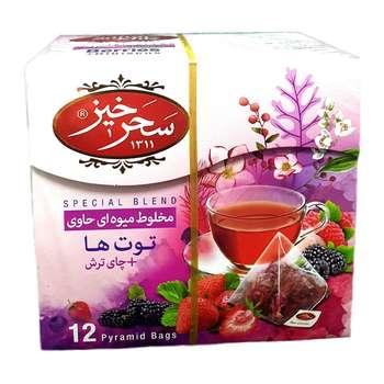 دمنوش کیسه ای توت فرنگی و چای ترش سحرخیز بسته 12 عددی