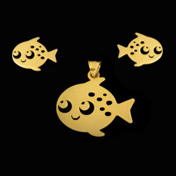 نیم ست طلا 18 عیار دخترانه طلای مستجابی مدل ماهی کد 67124