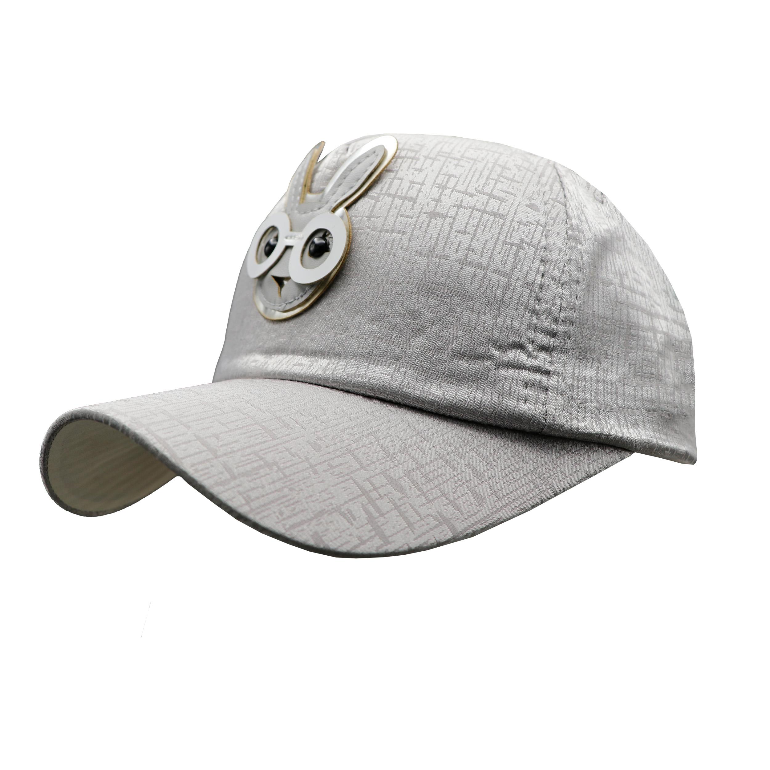 کلاه کپ بچگانه طرح خرگوش عینکی رنگ طوسی