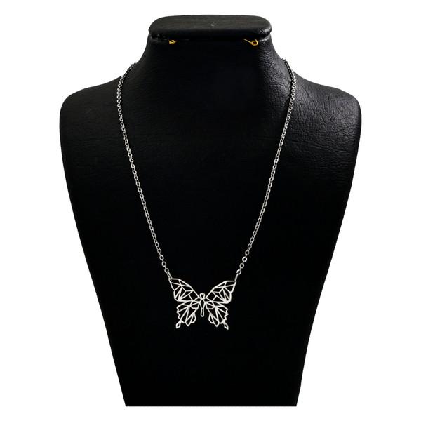 گردنبند نقره زنانه دلی جم طرح اوریگامی پروانه کد D 109