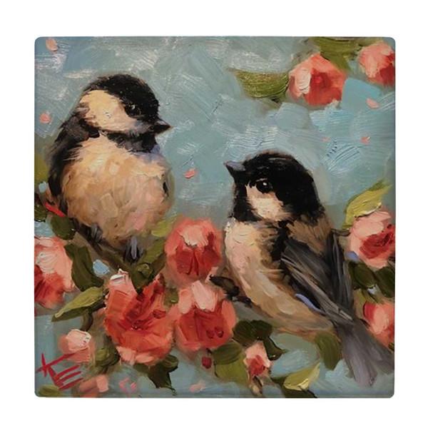 کاشی طرح پرنده ها و شکوفه های گیلاس کد wk3191