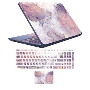 استیکر لپ تاپ مدل marbel کد 8 مناسب برای لپ تاپ 15 تا 17 اینچ به همراه برچسب حروف فارسی کیبورد