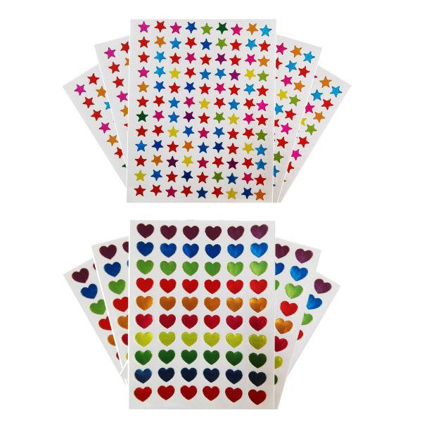 برچسب طرح قلب و ستاره مدل s118 مجموعه 10 عددی