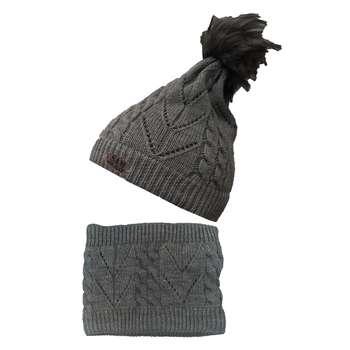ست کلاه و شال گردن بافتنی بچگانه سام کد 151-1P رنگ خاکستری