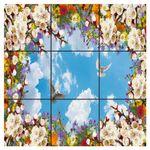 تایل سقفی آسمان مجازی طرح گل های رنگارنگ کد 0600 سایز 60x60 سانتی متر مجموعه 9 عددی