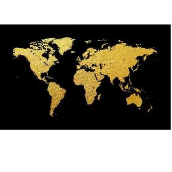تابلو ورق طلا طرح نقشه جهان کد RU009